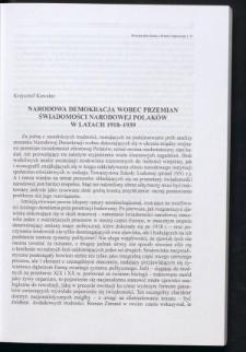 Narodowa Demokracja wobec przemian świadomości narodowej Polaków w latach 1918-1939