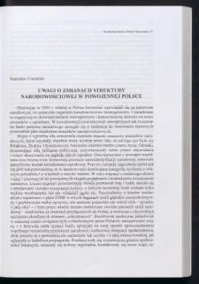 Uwagi o zmianach struktury narodowościowej w powojennej Polsce