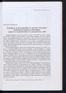 Publikacje książkowe w języku polskim wydawane przez litewskie oficyny państwowe w latach 1944-1990