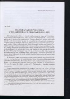 Polityka narodowościowa w polskich siłach zbrojnych (1918-1939)