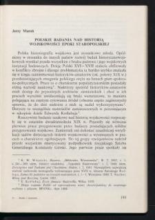 Polskie badania nad historią wojskowości epoki staropolskiej