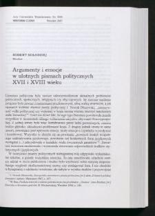 Argumenty i emocje w ulotnych pismach politycznych XVII i XVIII wieku