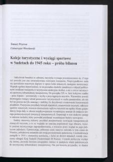 Koleje turystyczne i wyciągi sportowe w Sudetach do 1945 roku - próba bilansu