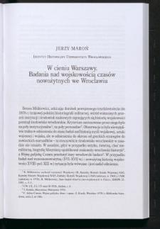 W cieniu Warszawy. Badania nad wojskowością czasów nowożytnych we Wrocławiu