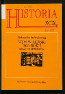 Sejm Wileński 1922 roku. Idea i jej realizacja