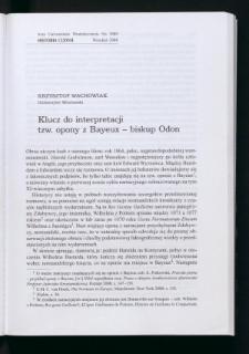 Klucz do interpretacji tzw. opony z Bayeux - biskup Odon
