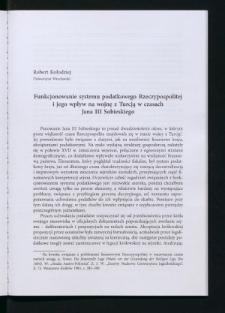 Funkcjonowanie systemu podatkowego Rzeczypospolitej i jego wpływ na wojnę z Turcją w czasach Jana III Sobieskiego