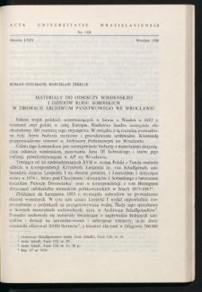 Materiały do odsieczy wiedeńskiej i dziejów rodu Sobieskich w zbiorach Archiwum Państwowego we Wrocławiu