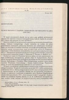 Polskie badania z zakresu demografii historycznej Śląska (1945-1983)