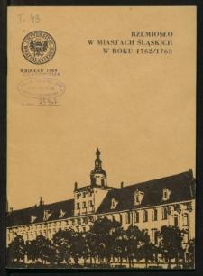 Rzemiosło w miastach śląskich w roku 1762/1763