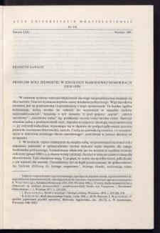Problem roli jednostki w ideologii Narodowej Demokracji (1918-1939)