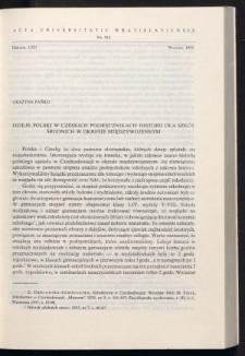 Dzieje Polski w czeskich podręcznikach historii dla szkół średnich w okresie międzywojennym