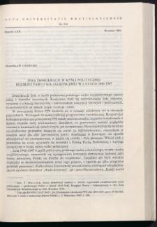 Idea demokracji w myśli politycznej Polskiej Partii Socjalistycznej w latach 1944-1948