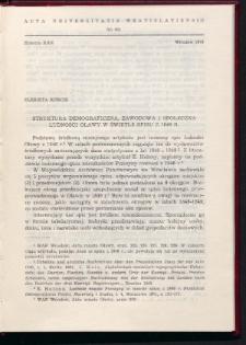 Struktura demograficzna, zawodowa i społeczna ludności Oławy w świetle spisu z 1846 r.
