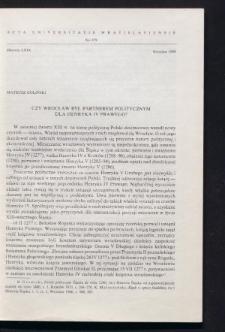 Czy Wrocław był partnerem politycznym dla Henryka IV Prawego?