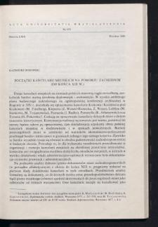 Początki kancelarii miejskich na Pomorzu Zachodnim (do końca XIII w.)