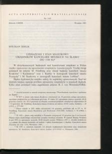 Uposażenie i stan majątkowy urzędników kancelarii miejskich na Śląsku (do 1350 r.)
