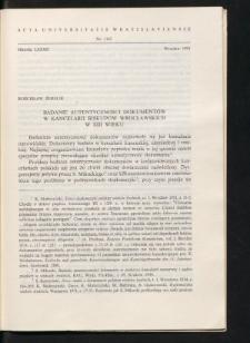 Badanie autentyczności dokumentów w kancelarii biskupów wrocławskich w XIII wieku