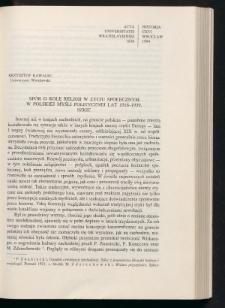 Spór o rolę religii w życiu społecznym w polskiej myśli politycznej lat 1918-1939. Szkic