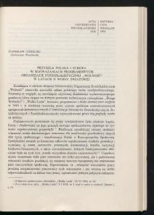 """Przyszła Polska i Europa w rozważaniach programowych Organizacji Syndykalistycznej """"Wolność' w latach II wojny światowej"""
