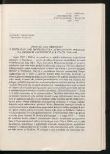 Przyjąć czy odrzucić? Z rozważań nad problematyką autochtonów polskich na ziemiach zachodnich w latach 1945-1949
