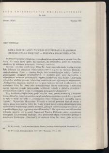 Góra Świętej Anny podczas III powstania śląskiego (przemilczana świętość - postawa franciszkanów)
