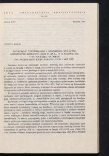 Ruchliwość terytorialna i środowisko społeczne nowożeńców biorących ślub w Opolu w II połowie XIX i na początku XX wieku