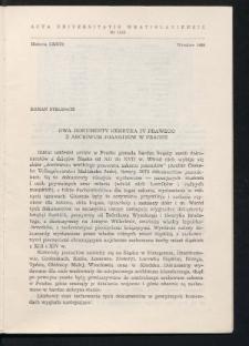 Dwa dokumenty Henryka IV Prawego z archiwum joannitów w Pradze