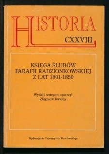 Księga ślubów parafii radzionkowskiej z lat 1801-1850