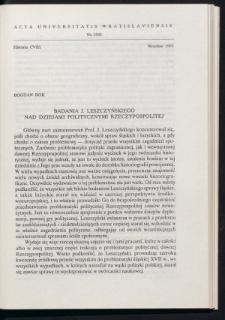 Badania J. Leszczyńskiego nad dziejami politycznymi Rzeczypospolitej