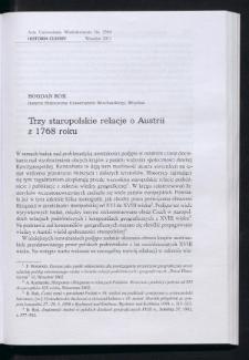 Trzy staropolskie relacje o Austrii z 1768 roku