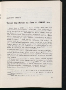 Towary importowane na Śląsk w 1784/85 roku