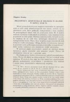 Pracownicy administracji miejskiej w Oławie w końcu XVIII w.