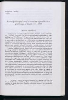 Rozwój demograficzny ludności archiprezbiteratu gliwickiego w latach 1841-1849