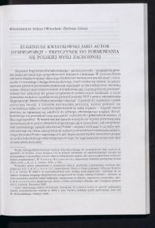 """Eugeniusz Kwiatkowski jako autor """"Dysproporcji"""" - przyczynek do formowania się polskiej myśli zachodniej"""
