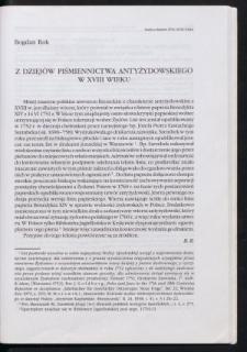 Z dziejów piśmiennictwa antyżydowskiego w XVIII wieku