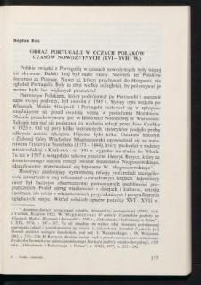 Obraz Portugalii w oczach Polaków czasów nowożytnych (XVI-XVIII w.)