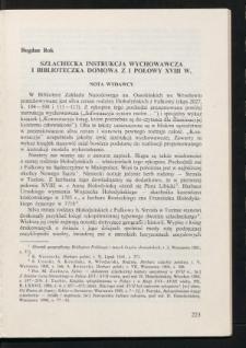 Szlachecka instrukcja wychowawcza i biblioteczka domowa z I połowy XVIII w.