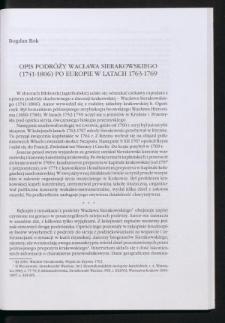 Opis podróży Wacława Sierakowskiego (1741-1806) po Europie w latach 1763-1769