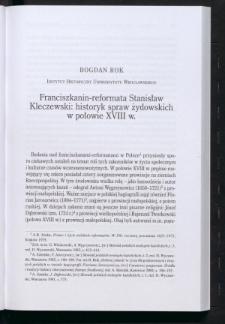 Franciszkanin-reformata Stanisław Kleczewski: historyk spraw żydowskich w połowie XVIII w.