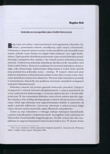 Kalendarze staropolskie jako źródło historyczne
