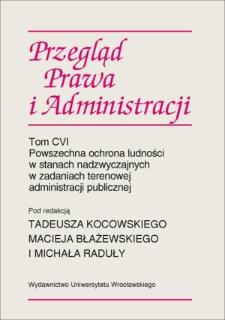Rola terenowej administracji publicznej w zapobieganiu sytuacjom kryzysowym
