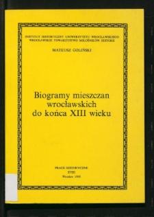 Biogramy mieszczan wrocławskich do końca XIII wieku