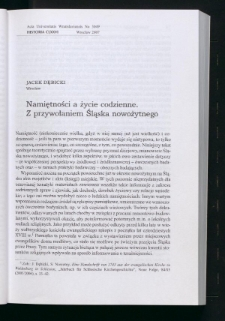 Namiętności a życie codzienne. Z przywołaniem Śląska nowożytnego