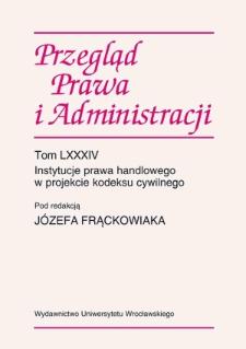 Pojęcie przedsiębiorcy i kupca w prawie niemieckim i francuskim na tle pojęcia przedsiębiorcy w projekcie kodeksu cywilnego