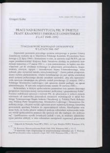 Prace nad konstytucją PRL w świetle prasy krajowej i emigracji londyńskiej z lat 1949-1952