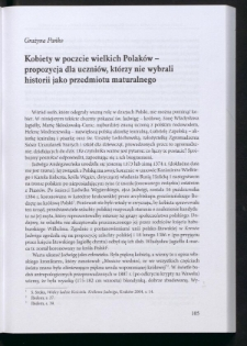 Kobiety w poczcie wielkich Polaków - propozycja dla uczniów, którzy nie wybrali historii jako przedmiotu maturalnego