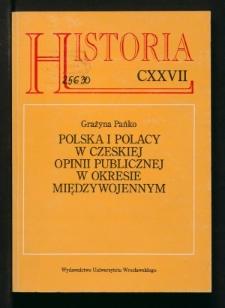 Polska i Polacy w czeskiej opinii publicznej w okresie międzywojennym