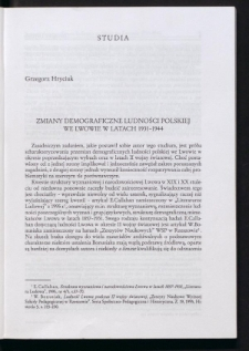 Zmiany demograficzne ludności polskiej we Lwowie w latach 1931-1944