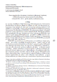 Prace magisterskie obronione w Instytucie Informacji Naukowej i Bibliotekoznawstwa Uniwersytetu Wrocławskiego w latach 1961–2014 – próba analizy naukometrycznej